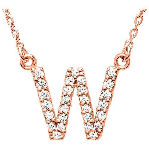 14kt Rose Gold Letter W 1/6 ct Diamond 16in Necklace