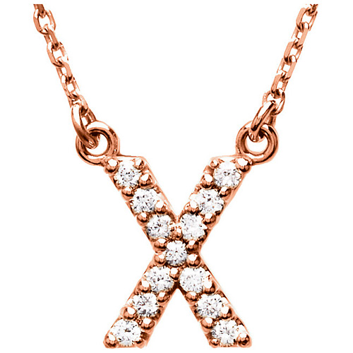 14kt Rose Gold Letter X 1/8 ct Diamond 16in Necklace