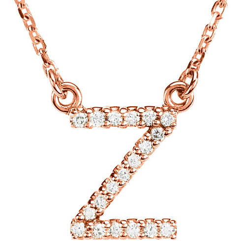 14kt Rose Gold Letter Z 1/10 ct Diamond 16in Necklace