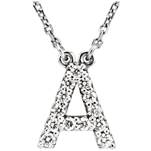 14kt White Gold Letter A 1/8 ct Diamond 16in Necklace