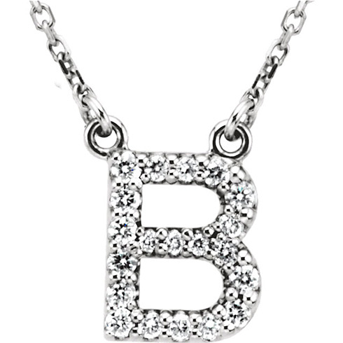 14kt White Gold Letter B 1/6 ct Diamond 16in Necklace