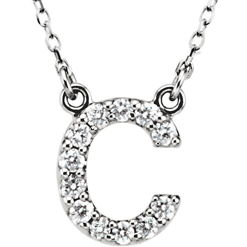 14kt White Gold Letter C 1/6 ct Diamond 16in Necklace