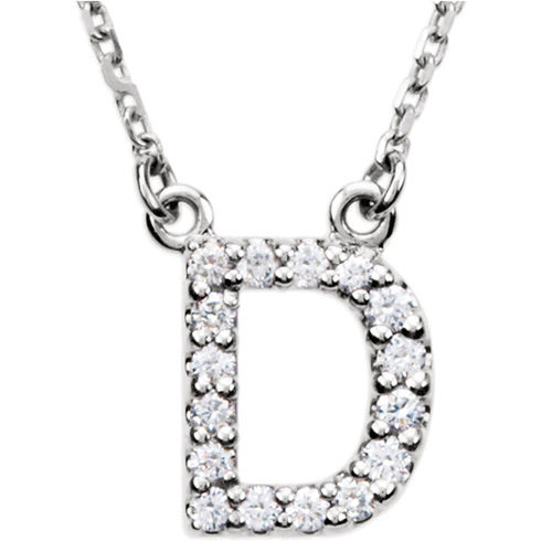 14kt White Gold Letter D 1/6 ct Diamond 16in Necklace