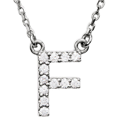 14kt White Gold Letter F 1/8 ct Diamond 16in Necklace