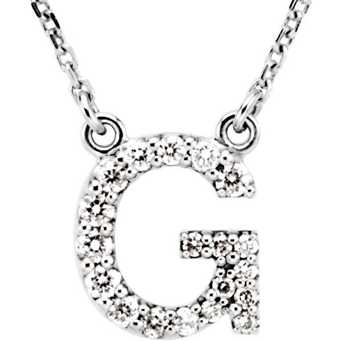 14kt White Gold Letter G 1/6 ct Diamond 16in Necklace