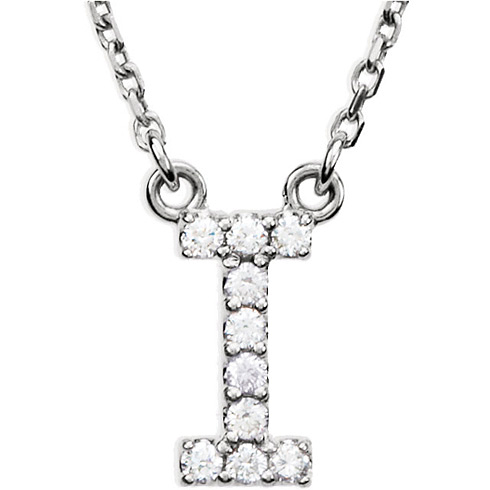 14kt White Gold Letter I 1/10 ct Diamond 16in Necklace