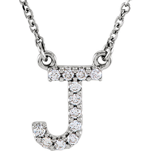 14kt White Gold Letter J 1/8 ct Diamond 16in Necklace