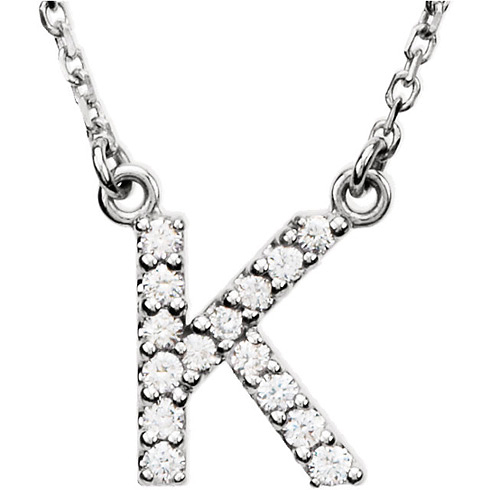 14kt White Gold ...K Letter In Diamond