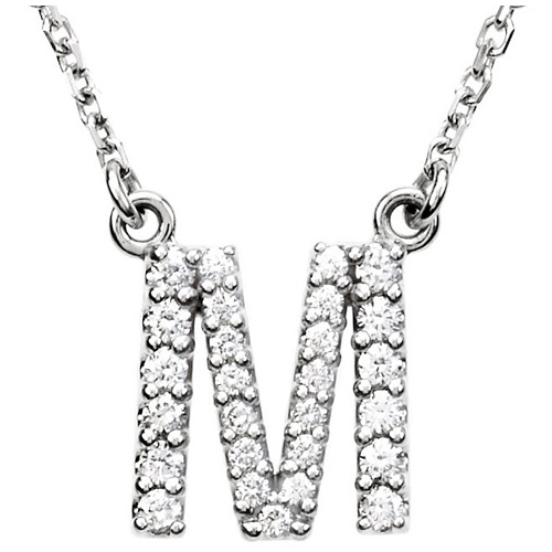 14kt White Gold Letter M 1/5 ct Diamond 16in Necklace