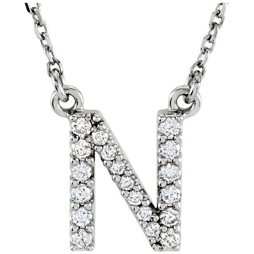 14kt White Gold Letter N 1/6 ct Diamond 16in Necklace
