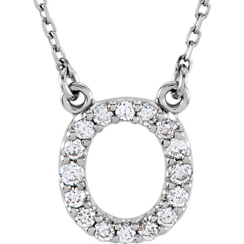 14kt White Gold Letter O 1/6 ct Diamond 16in Necklace