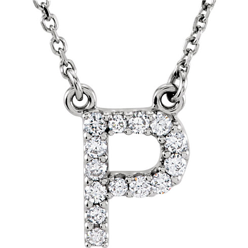 14kt White Gold Letter P 1/8 ct Diamond 16in Necklace