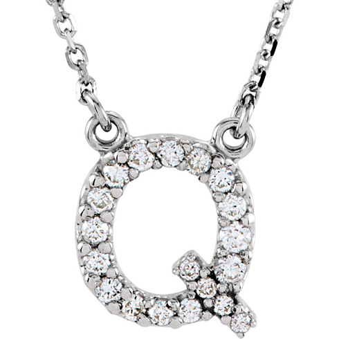 14kt White Gold Letter Q 1/6 ct Diamond 16in Necklace