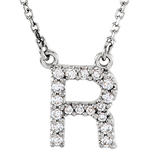 14kt White Gold Letter R 1/6 ct Diamond 16in Necklace