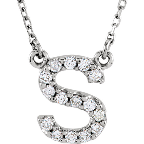 14kt White Gold Letter S 1/6 ct Diamond 16in Necklace