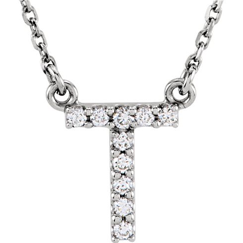 14kt White Gold Letter T 1/10 ct Diamond 16in Necklace