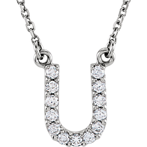 14kt White Gold Letter U 1/8 ct Diamond 16in Necklace