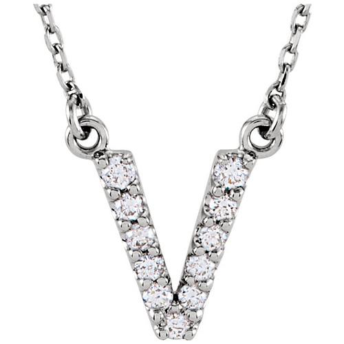 14kt White Gold Letter V 1/8 ct Diamond 16in Necklace