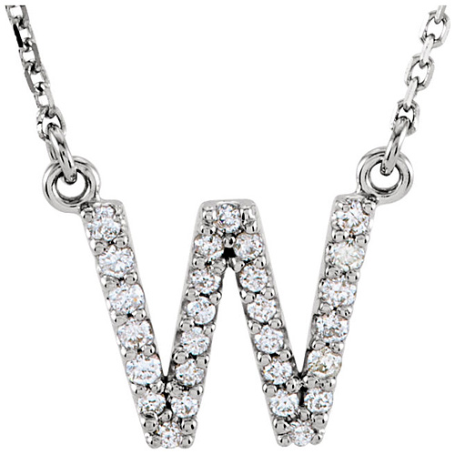 14kt White Gold Letter W 1/6 ct Diamond 16in Necklace