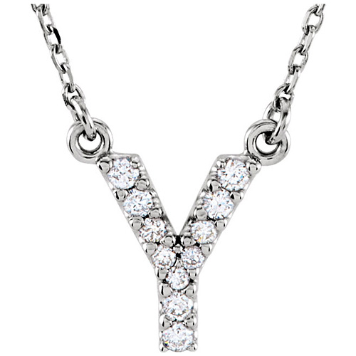 14kt White Gold Letter Y 1/10 ct Diamond 16in Necklace