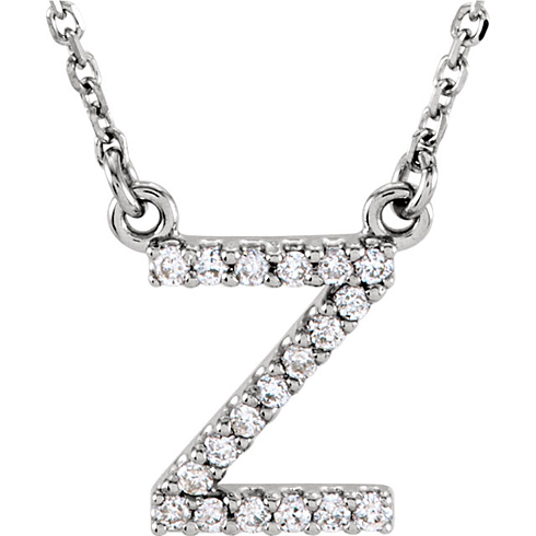 14kt White Gold Letter Z 1/10 ct Diamond 16in Necklace