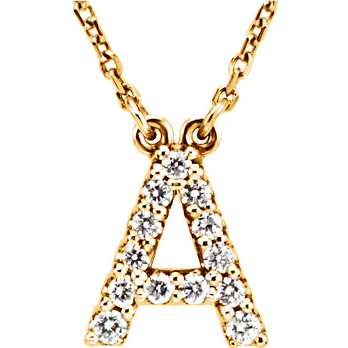 14kt Yellow Gold Letter A 1/8 ct Diamond 16in Necklace