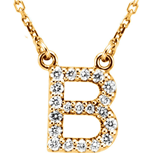 14kt Yellow Gold Letter B 1/6 ct Diamond 16in Necklace
