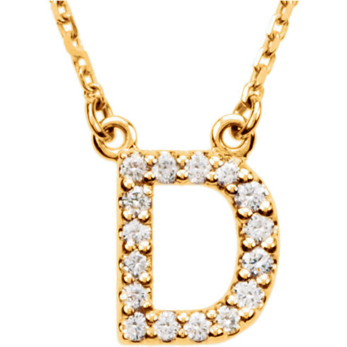 14kt Yellow Gold Letter D 1/6 ct Diamond 16in Necklace