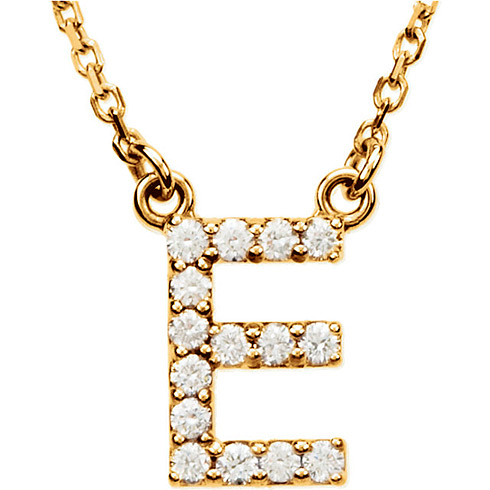 14kt Yellow Gold Letter E 1/6 ct Diamond 16in Necklace