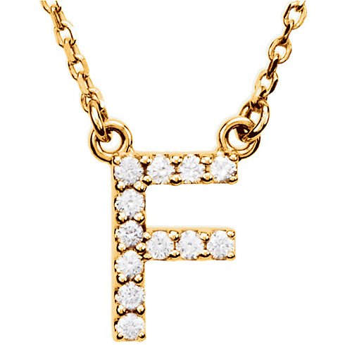 14kt Yellow Gold Letter F 1/8 ct Diamond 16in Necklace