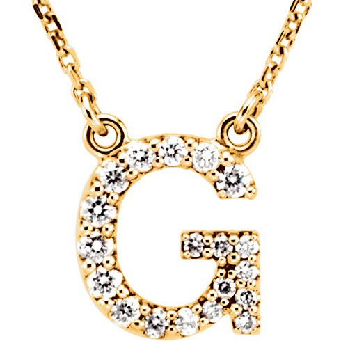 14kt Yellow Gold Letter G 1/6 ct Diamond 16in Necklace