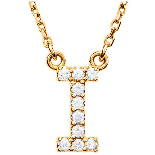 14kt Yellow Gold Letter I 1/10 ct Diamond 16in Necklace