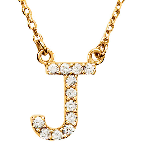 14kt Yellow Gold Letter J 1/8 ct Diamond 16in Necklace