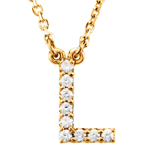 14kt Yellow Gold Letter L 1/10 ct Diamond 16in Necklace