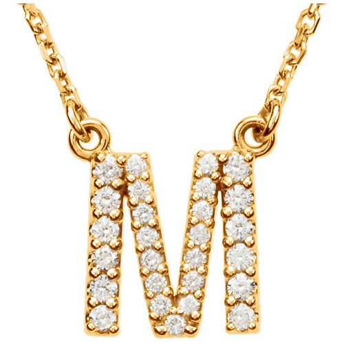 14kt Yellow Gold Letter M 1/5 ct Diamond 16in Necklace