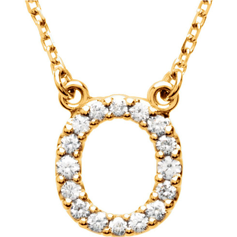 14kt Yellow Gold Letter O 1/6 ct Diamond 16in Necklace