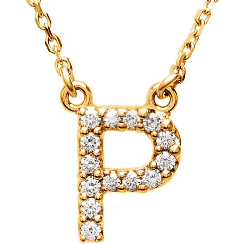 14kt Yellow Gold Letter P 1/8 ct Diamond 16in Necklace