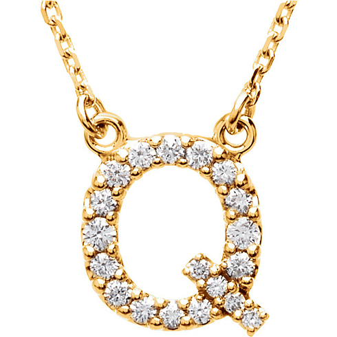 14kt Yellow Gold Letter Q 1/6 ct Diamond 16in Necklace