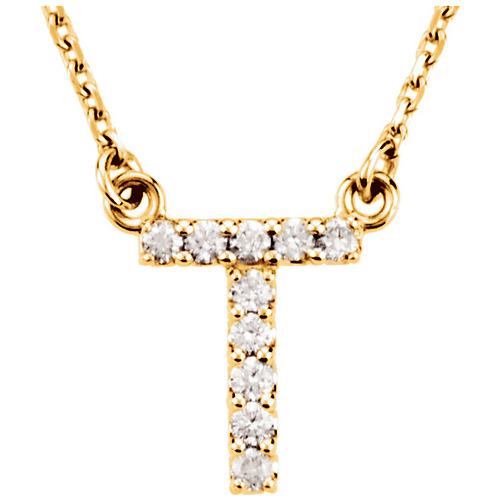 14kt Yellow Gold Letter T 1/10 ct Diamond 16in Necklace