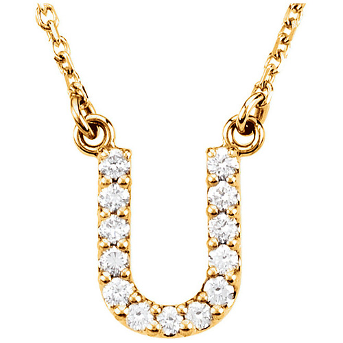 14kt Yellow Gold Letter U 1/8 ct Diamond 16in Necklace