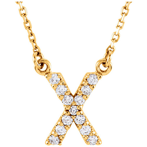 14kt Yellow Gold Letter X 1/8 ct Diamond 16in Necklace