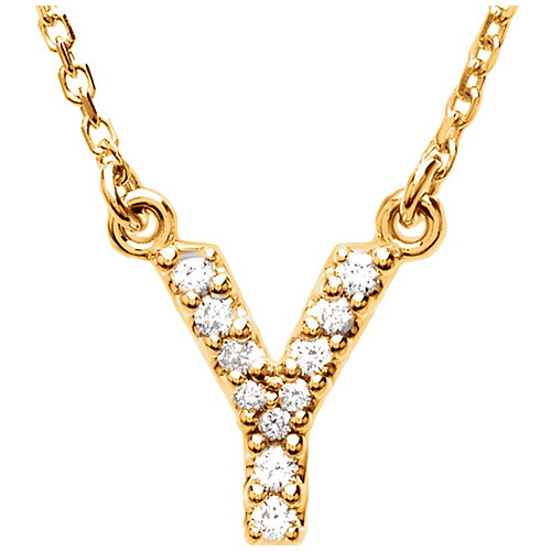 14kt Yellow Gold Letter Y 1/10 ct Diamond 16in Necklace