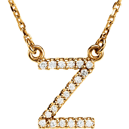 14kt Yellow Gold Letter Z 1/10 ct Diamond 16in Necklace