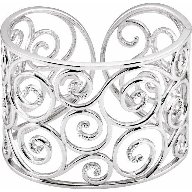 3/8 ct tw Diamond Bangle Bracelet - Sterling Silver