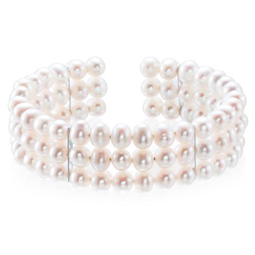 Sterling Silver Freshwater Cultured Pearl Cuff Bracelet