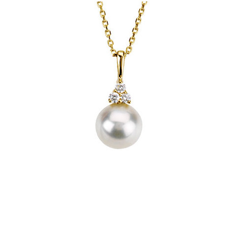 14kt Yellow Gold 8mm Freshwater Cultured Pearl Diamond 18in Necklace