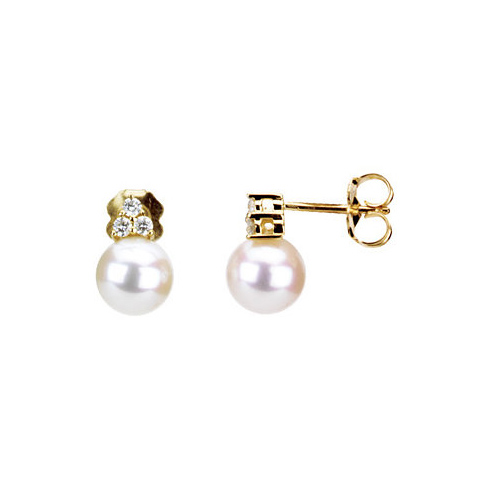 14kt Yellow Gold 7.5mm Freshwater Cultured Pearl  Earrings with 1/8 ct Diamond Accents