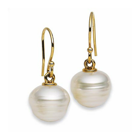 18kt Yellow Gold 10mm Circle Cultured South Sea Pearl Earrings