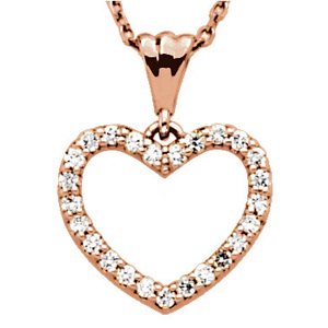 14kt Rose Gold 1/4 ct Diamond Heart 18in Necklace