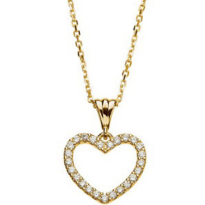 14kt Yellow Gold 1/4 ct Diamond Heart 18in Necklace